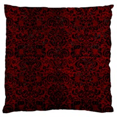 Damask2 Black Marble & Red Grunge Large Flano Cushion Case (two Sides) by trendistuff