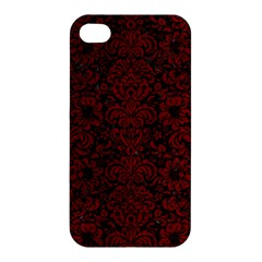 Damask2 Black Marble & Red Grunge (r) Apple Iphone 4/4s Hardshell Case by trendistuff