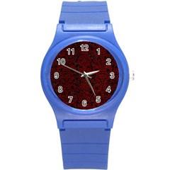 Damask2 Black Marble & Red Grunge (r) Round Plastic Sport Watch (s) by trendistuff
