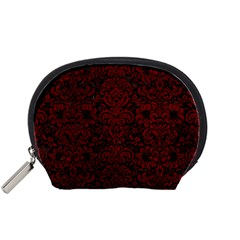 Damask2 Black Marble & Red Grunge (r) Accessory Pouches (small)  by trendistuff