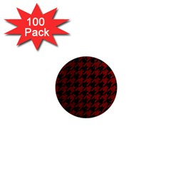 Houndstooth1 Black Marble & Red Grunge 1  Mini Magnets (100 Pack)  by trendistuff