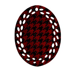 Houndstooth1 Black Marble & Red Grunge Oval Filigree Ornament (two Sides) by trendistuff