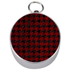 Houndstooth1 Black Marble & Red Grunge Silver Compasses by trendistuff