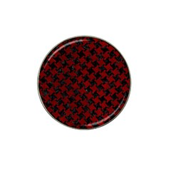 Houndstooth2 Black Marble & Red Grunge Hat Clip Ball Marker (10 Pack) by trendistuff
