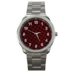 Houndstooth2 Black Marble & Red Grunge Sport Metal Watch by trendistuff