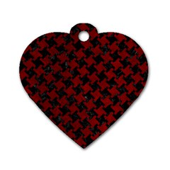 Houndstooth2 Black Marble & Red Grunge Dog Tag Heart (two Sides) by trendistuff