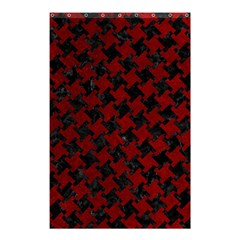 Houndstooth2 Black Marble & Red Grunge Shower Curtain 48  X 72  (small)  by trendistuff