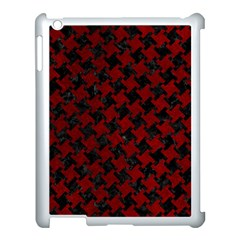 Houndstooth2 Black Marble & Red Grunge Apple Ipad 3/4 Case (white)