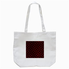 Houndstooth2 Black Marble & Red Grunge Tote Bag (white) by trendistuff