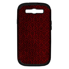 Hexagon1 Black Marble & Red Grunge Samsung Galaxy S Iii Hardshell Case (pc+silicone) by trendistuff