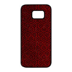 Hexagon1 Black Marble & Red Grunge Samsung Galaxy S7 Edge Black Seamless Case by trendistuff