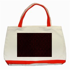 Hexagon1 Black Marble & Red Grunge (r) Classic Tote Bag (red) by trendistuff