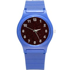Hexagon1 Black Marble & Red Grunge (r) Round Plastic Sport Watch (s) by trendistuff