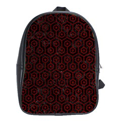 Hexagon1 Black Marble & Red Grunge (r) School Bag (xl) by trendistuff