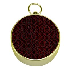 Hexagon1 Black Marble & Red Grunge (r) Gold Compasses by trendistuff