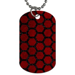 Hexagon2 Black Marble & Red Grunge Dog Tag (one Side) by trendistuff