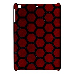 Hexagon2 Black Marble & Red Grunge Apple Ipad Mini Hardshell Case by trendistuff