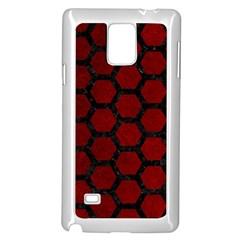 Hexagon2 Black Marble & Red Grunge Samsung Galaxy Note 4 Case (white) by trendistuff