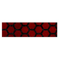 Hexagon2 Black Marble & Red Grunge Satin Scarf (oblong) by trendistuff