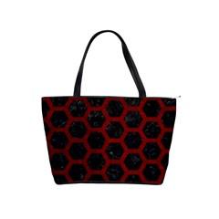 Hexagon2 Black Marble & Red Grunge (r) Shoulder Handbags by trendistuff