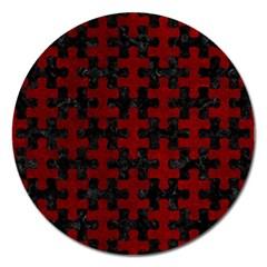 Puzzle1 Black Marble & Red Grunge Magnet 5  (round) by trendistuff
