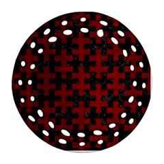 Puzzle1 Black Marble & Red Grunge Ornament (round Filigree) by trendistuff