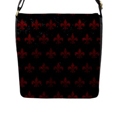Royal1 Black Marble & Red Grunge Flap Messenger Bag (l)  by trendistuff
