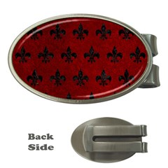 Royal1 Black Marble & Red Grunge (r) Money Clips (oval)  by trendistuff