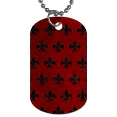 Royal1 Black Marble & Red Grunge (r) Dog Tag (two Sides) by trendistuff