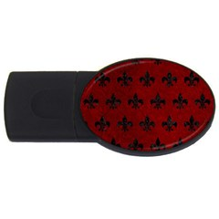 Royal1 Black Marble & Red Grunge (r) Usb Flash Drive Oval (4 Gb) by trendistuff
