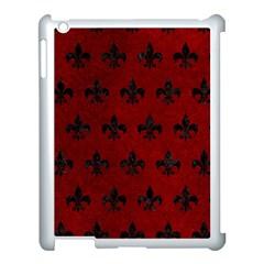 Royal1 Black Marble & Red Grunge (r) Apple Ipad 3/4 Case (white)