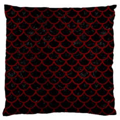 Scales1 Black Marble & Red Grunge (r) Large Cushion Case (one Side) by trendistuff