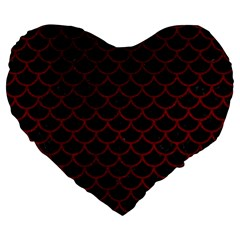Scales1 Black Marble & Red Grunge (r) Large 19  Premium Flano Heart Shape Cushions by trendistuff