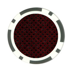 Scales2 Black Marble & Red Grunge (r) Poker Chip Card Guard by trendistuff