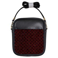 Scales2 Black Marble & Red Grunge (r) Girls Sling Bags by trendistuff