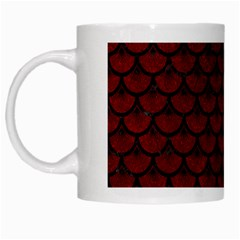 Scales3 Black Marble & Red Grunge White Mugs by trendistuff