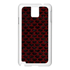 Scales3 Black Marble & Red Grunge (r) Samsung Galaxy Note 3 N9005 Case (white)