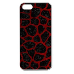 Skin1 Black Marble & Red Grunge Apple Seamless Iphone 5 Case (clear) by trendistuff