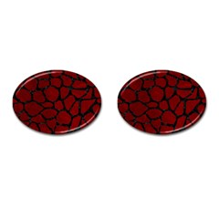 Skin1 Black Marble & Red Grunge (r) Cufflinks (oval) by trendistuff