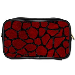 Skin1 Black Marble & Red Grunge (r) Toiletries Bags 2 Side by trendistuff