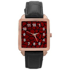 Skin1 Black Marble & Red Grunge (r) Rose Gold Leather Watch  by trendistuff
