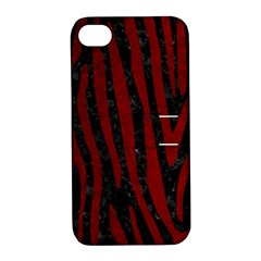 Skin4 Black Marble & Red Grunge Apple Iphone 4/4s Hardshell Case With Stand by trendistuff