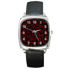 Skin5 Black Marble & Red Grunge Square Metal Watch by trendistuff