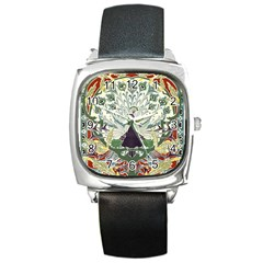 Art Nouveau Peacock Square Metal Watch by 8fugoso