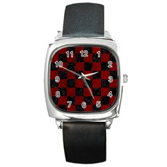 Square1 Black Marble & Red Grunge Square Metal Watch by trendistuff
