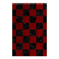 Square1 Black Marble & Red Grunge Shower Curtain 48  X 72  (small)  by trendistuff