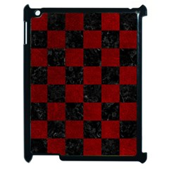 Square1 Black Marble & Red Grunge Apple Ipad 2 Case (black) by trendistuff