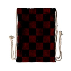 Square1 Black Marble & Red Grunge Drawstring Bag (small) by trendistuff