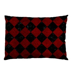 Square2 Black Marble & Red Grunge Pillow Case by trendistuff