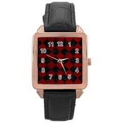 Square2 Black Marble & Red Grunge Rose Gold Leather Watch  by trendistuff